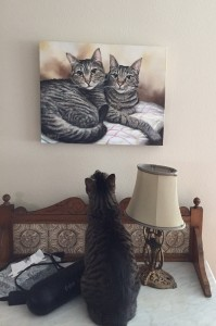 Millie admiring herself. Millie & Marty 16 x 20 in. Acrylic